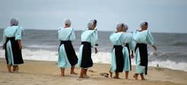 Amish women at beach