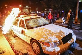 Ferguson cop car burns