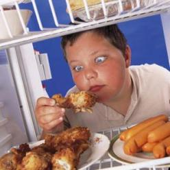 fat kid with chicken