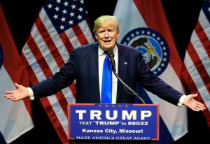 Republican presidential candidate Donald Trump speaks during an election rally in Kansas City, Mo., Saturday, March 12, 2016. (AP Photo/Nati Harnik)
